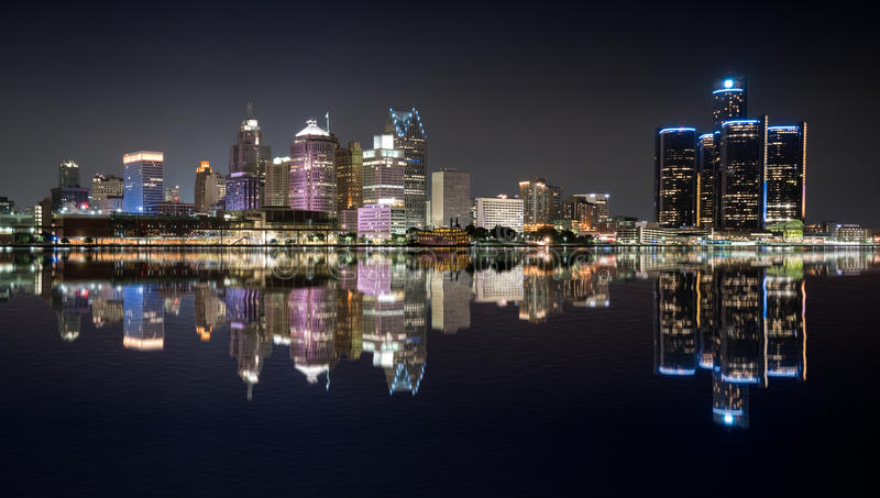 Detroit Night Skyline royalty free stock photo