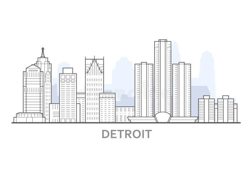 Detroit pejzaż miejski, Michigan - panorama Detroit, linia horyzontu śródmieście ilustracji