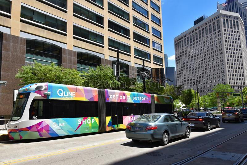 Detroit QLine Woodward stock foto