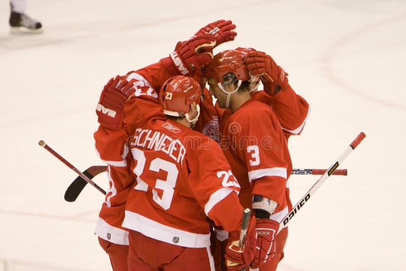Detroit Red Wings gratulerar sig royaltyfria bilder