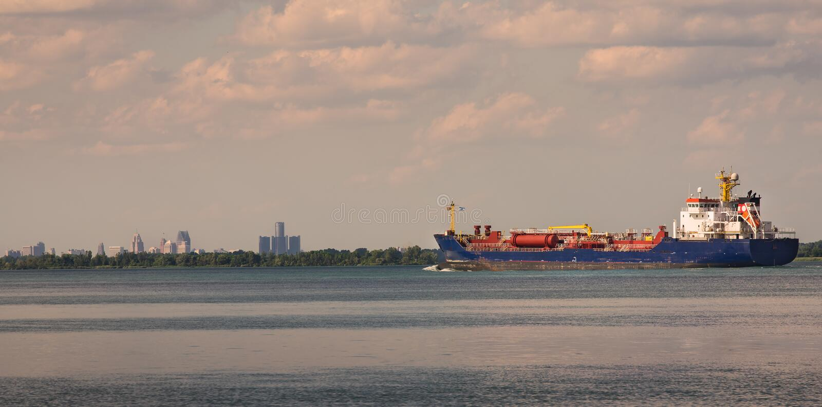 Detroit River Shipping stock image