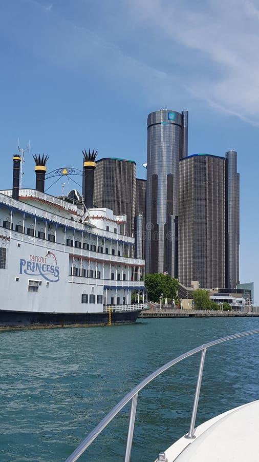 Detroit River sikter arkivbild