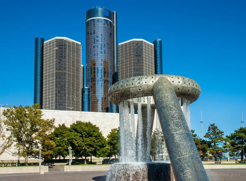 Detroit`s Hart Plaza Fountain stock images