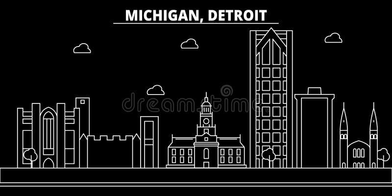 Detroit-Schattenbildskyline USA - Detroit-Vektorstadt, amerikanische lineare Architektur, Gebäude Detroit-Reise lizenzfreie abbildung