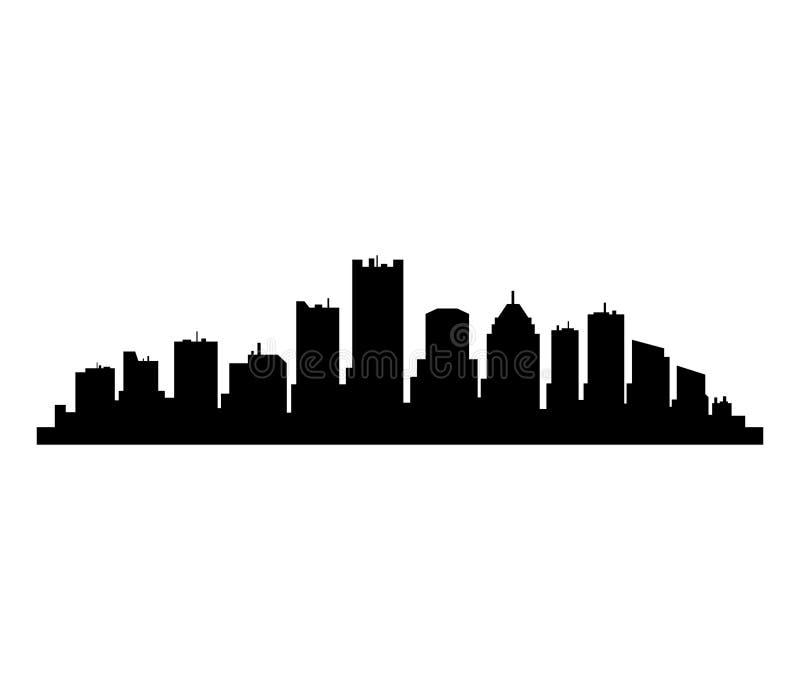 Detroit-Skyline lizenzfreie abbildung