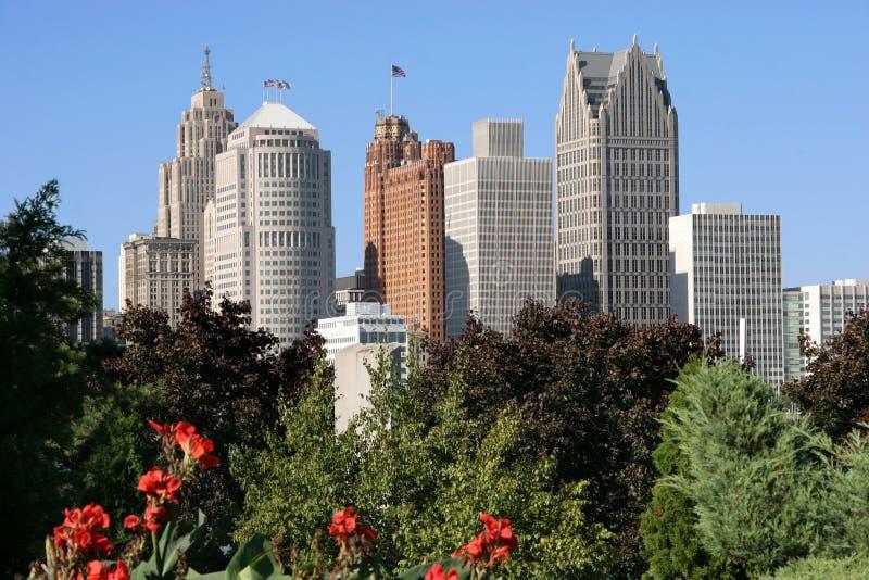 Detroit skyline royalty free stock photos