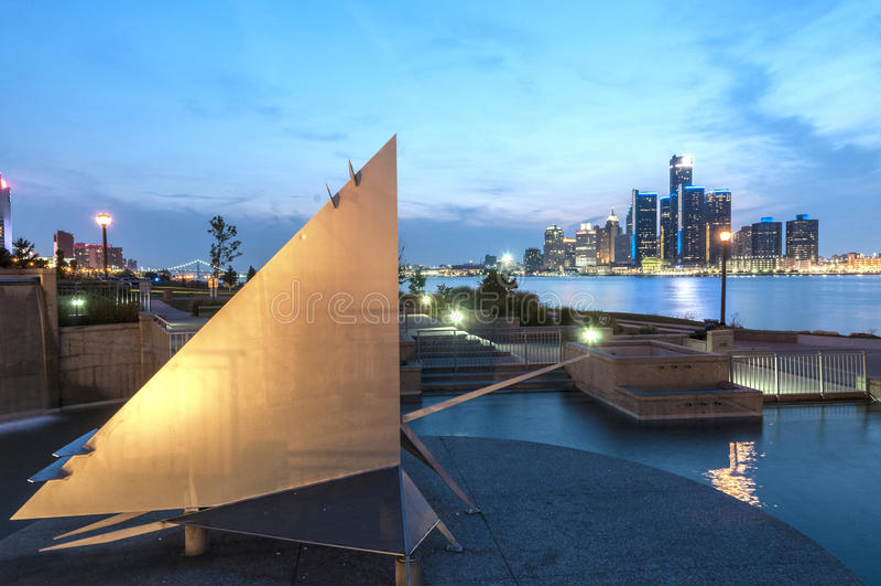 Detroit-Skyline lizenzfreies stockfoto