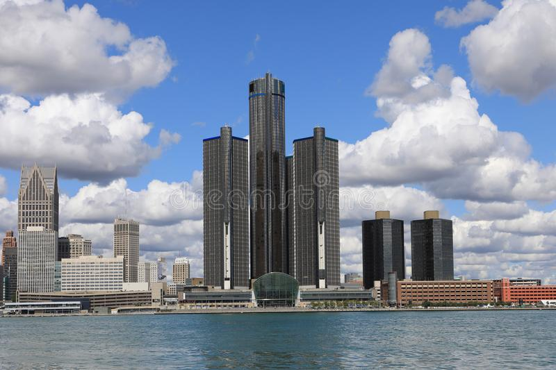 Detroit Skyline across the Detroit River royalty free stock photo