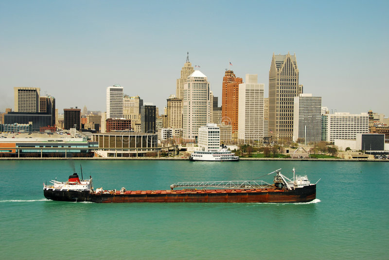 Detroit skyline by day royalty free stock images