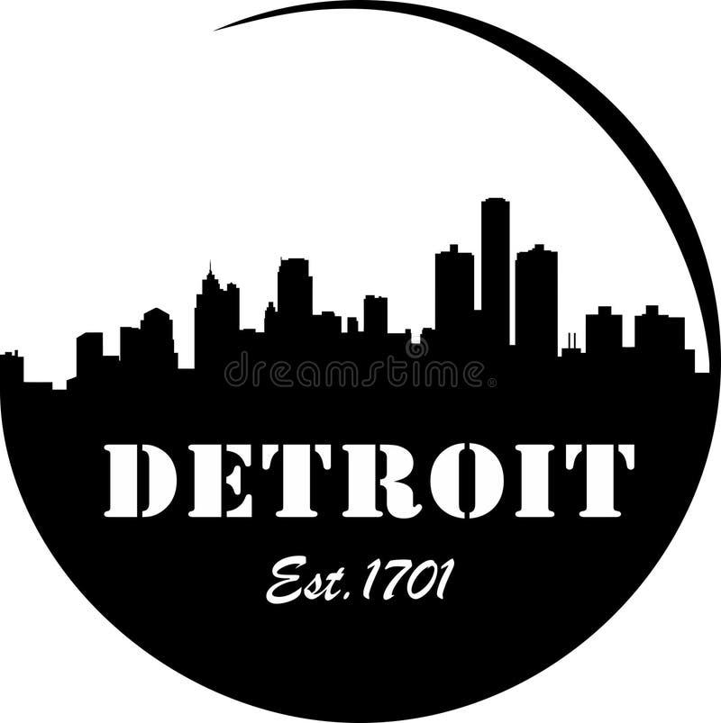 Detroit Skyline. Est.1837 sign royalty free illustration