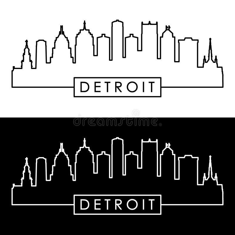 Detroit skyline. Linear style stock illustration