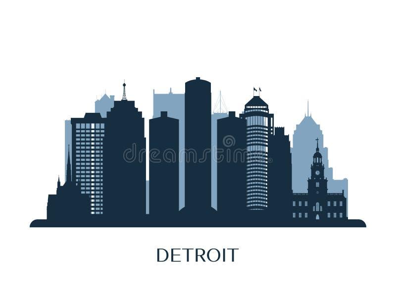 Detroit skyline, monochrome silhouette. vector illustration