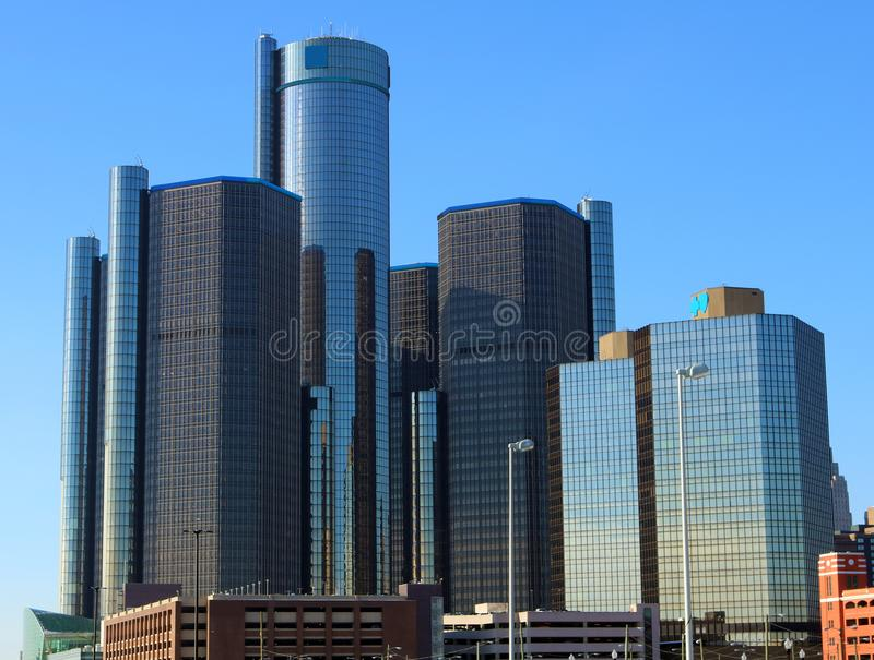 Detroit Skyline Motor City tallest buildings in Michigan stock photo