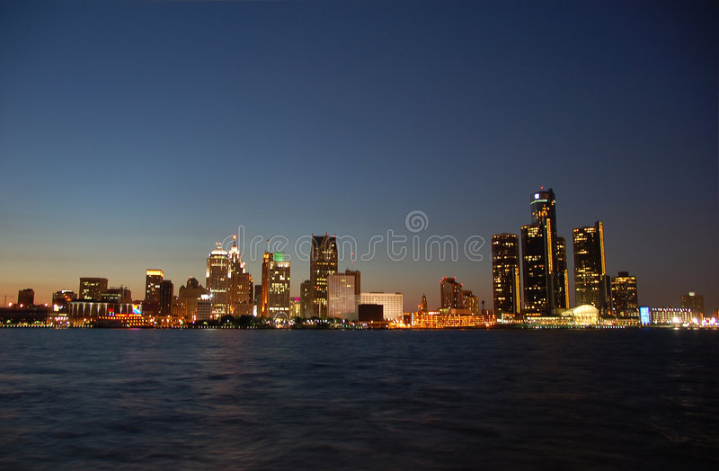 Detroit skyline by night royalty free stock image
