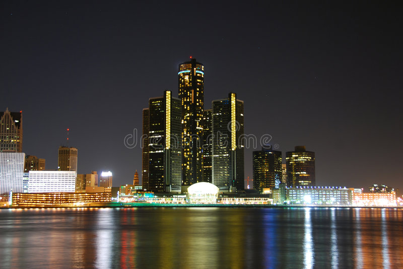Download Detroit skyline at night stock image. Image of architecture - 2300905