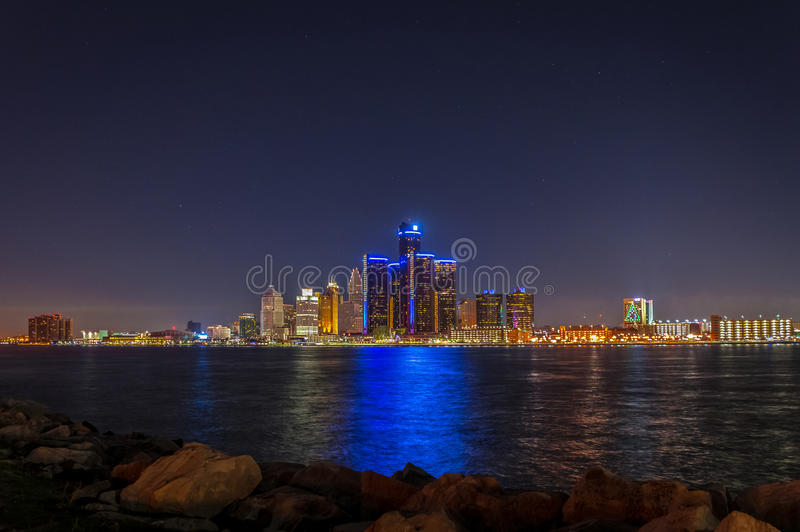 Detroit Skyline at Night with Christmas Lights stock photos