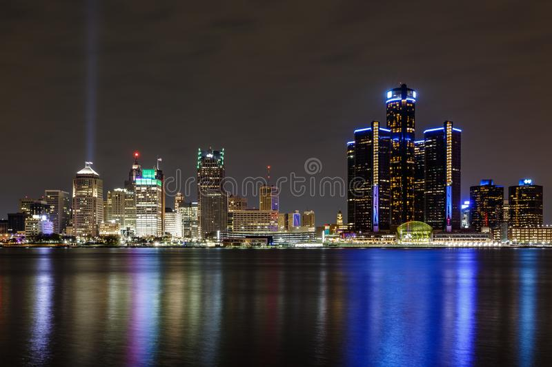 Detroit skyline, a view from Windsor, Ontario, Canada stock photo