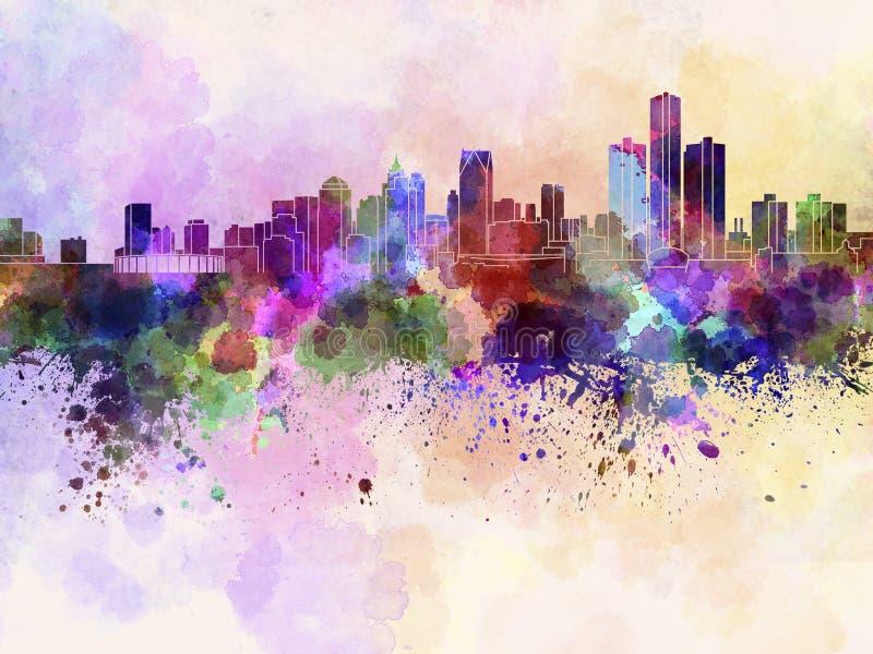 Detroit skyline in watercolor background stock illustration