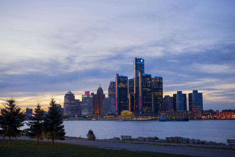 Detroit skyline with the world headquarters for general for General motors corporate office