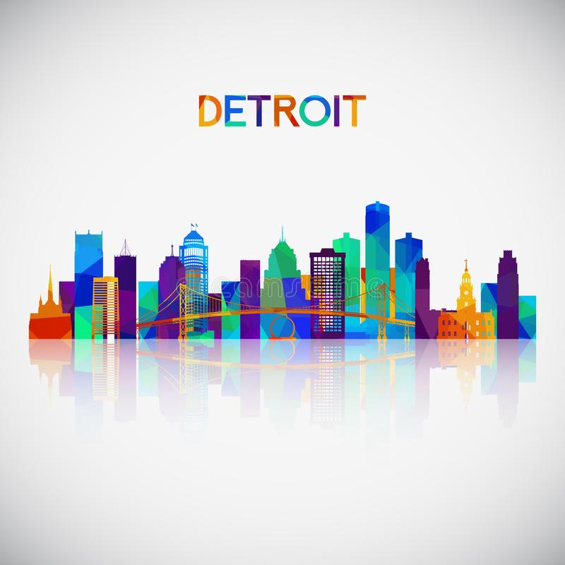Detroit-Skylineschattenbild im bunten geometrischen Stil lizenzfreie abbildung