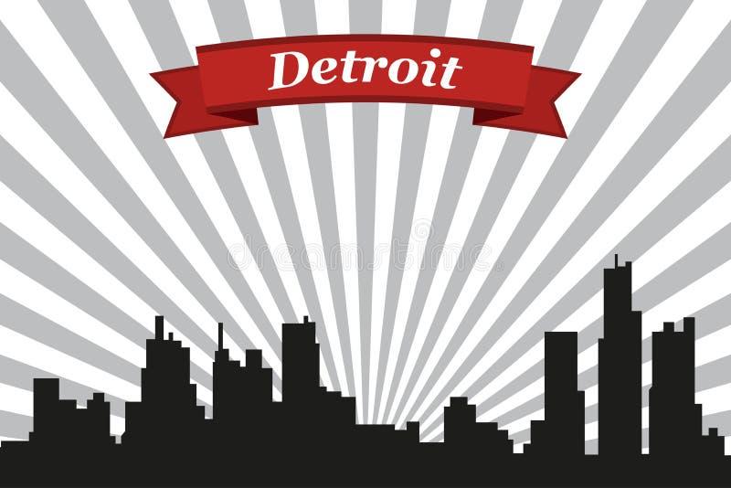 Detroit-Stadtskyline mit Strahlnhintergrund und -band vektor abbildung
