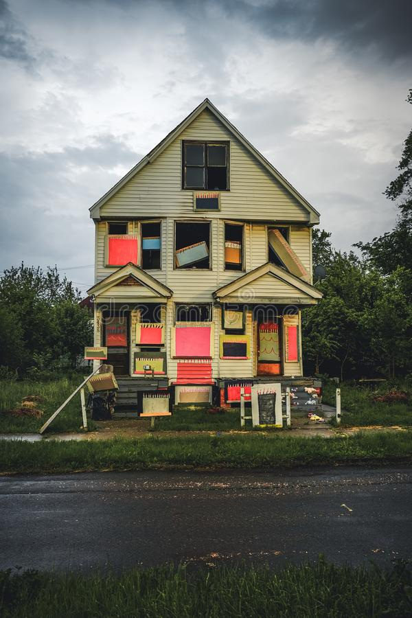 DETROIT, USA - March 07, 2019: The Heidelberg Project in Detroit, Michigan, USA.The Heidelberg Project is an outdoor art. Project in Detroit, Michigan which stock photo