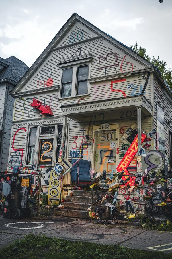 DETROIT, USA - March 07, 2019: The Heidelberg Project in Detroit, Michigan, USA.The Heidelberg Project is an outdoor art. Project in Detroit, Michigan which royalty free stock image