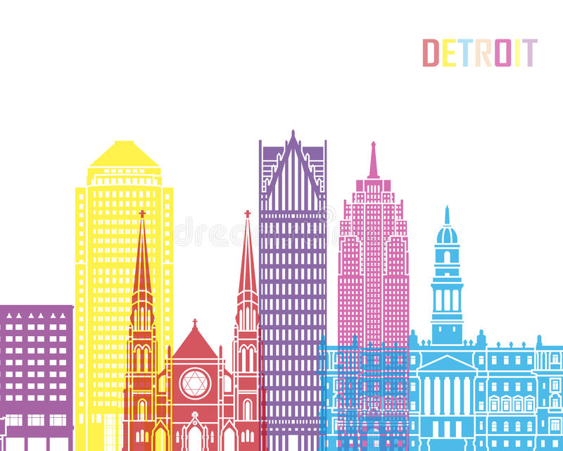 Detroit_V2地平线流行音乐 皇族释放例证