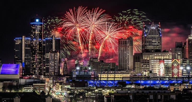 Detroit wolności festiwalu fajerwerki zdjęcie royalty free