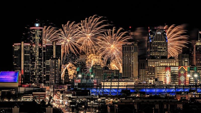 Detroit wolności festiwalu fajerwerki fotografia stock