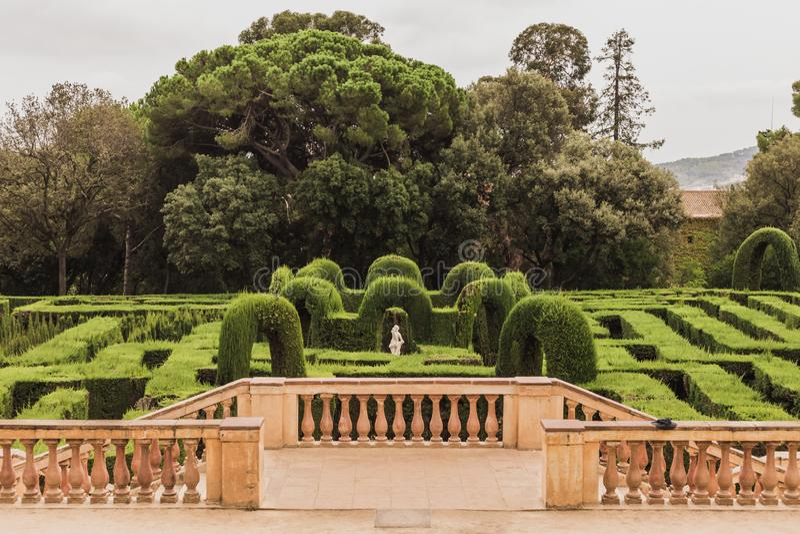 Detta är parkerar av labyrinten av den Horta laberintoen de Horta i spanjor som förläggas i övreBarcelona, bredvid det Collserola royaltyfri fotografi