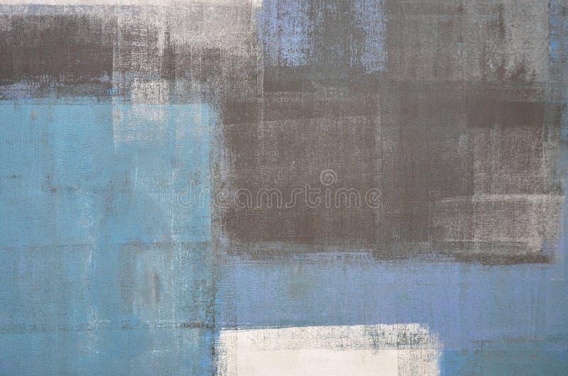 Abstrakt konstmålning för blått och för grå färg royaltyfri fotografi