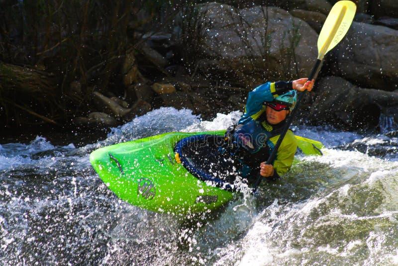 Detta foto är av en kayaker som går till och med en grupp för fors på övreavsnittet av Kern River royaltyfri bild
