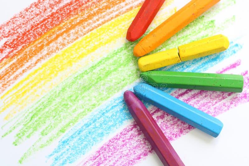 Crayonen färgar royaltyfria foton