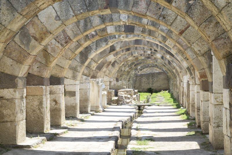 Dettagli Architettonici Dell'Antica Agorà Di Smirne Izmir, Turchia fotografie stock libere da diritti