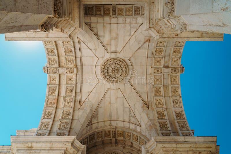 Dettagli architettonici di Rua Augusta Arch In Lisbon City del Portogallo immagini stock libere da diritti