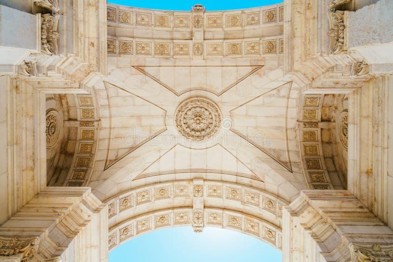 Dettagli architettonici di Rua Augusta Arch In Lisbon City del Portogallo fotografie stock libere da diritti