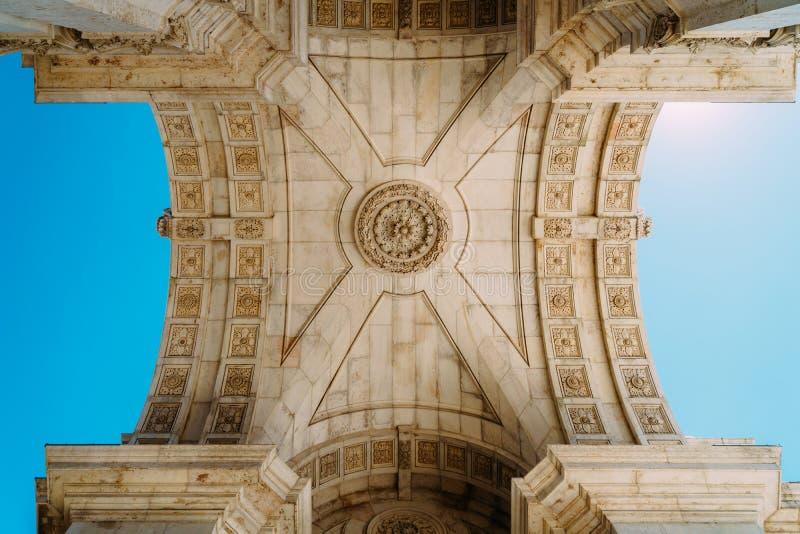 Dettagli architettonici di Rua Augusta Arch In Lisbon City del Portogallo immagine stock