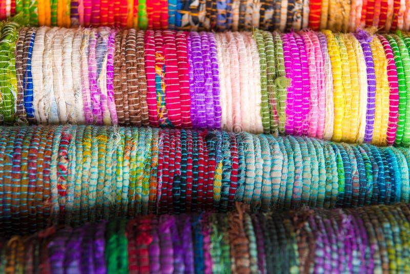 Dettagli Colourful delle coperte d'annata fatte a mano immagini stock