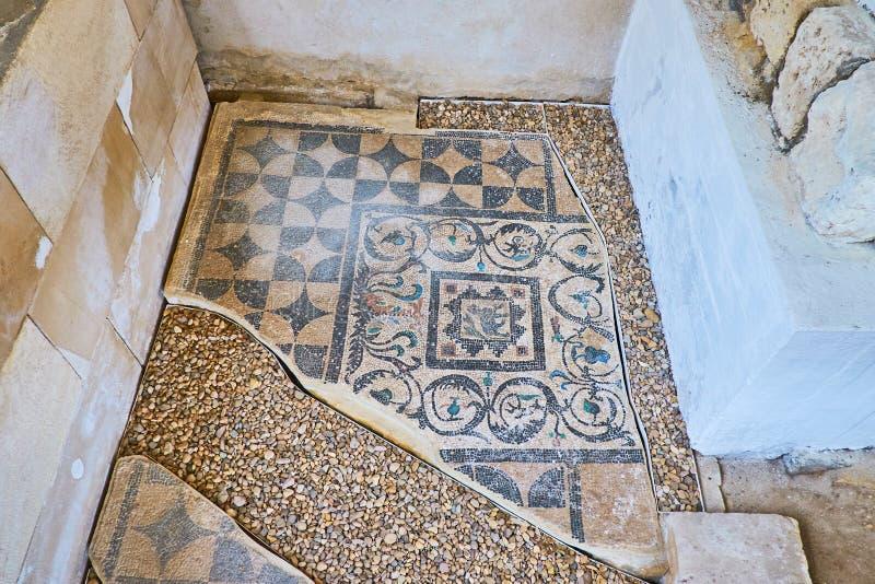 Dettagli del mosaico in Roman Villa antico, Alessandria d'Egitto, Egitto immagine stock libera da diritti