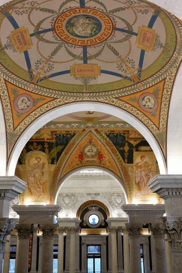 Dettagli del soffitto della Biblioteca del Congresso fotografia stock