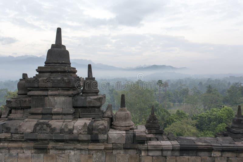 Dettagli del tempio di Borobudur in Java fotografie stock libere da diritti