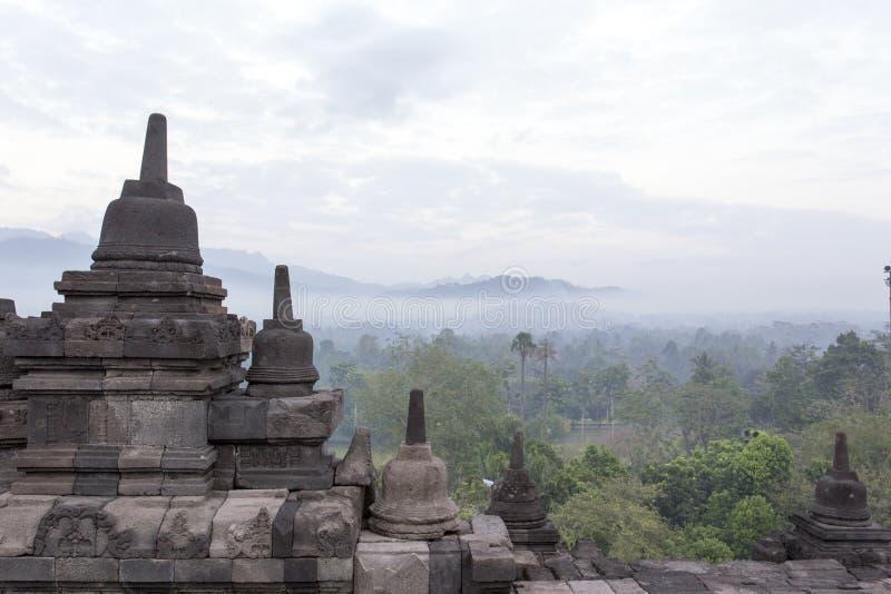 Dettagli del tempio di Borobudur in Java fotografia stock