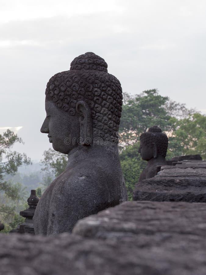 Dettagli del tempio di Borobudur in Java fotografia stock libera da diritti