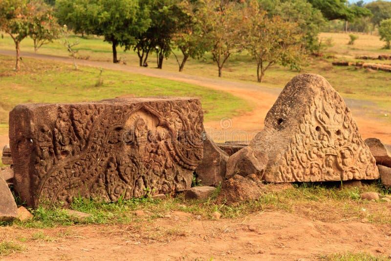 Dettagli del tempio di Wat Phu Champasak nel Laos immagine stock
