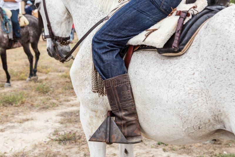 Dettagli dell'attrezzatura spagnola del cavaliere Cavalli di epifania fotografia stock