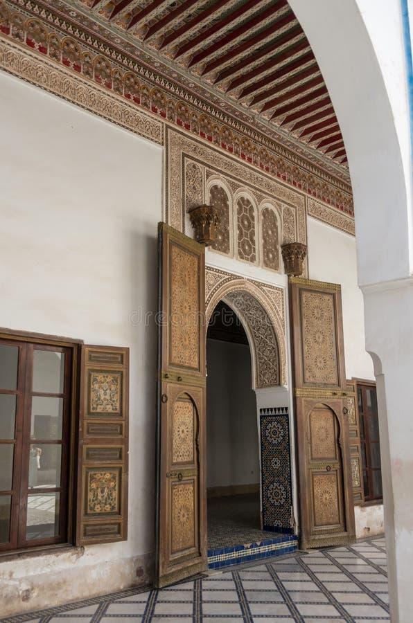 Dettagli dell'interno del palazzo di EL Bahia, Marrakesh, Marocco immagini stock