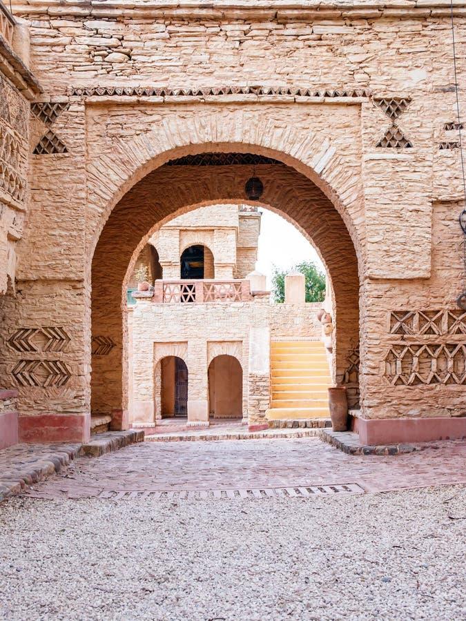Dettagli di architettura del villaggio di Medina a Agadir, Marocco fotografia stock