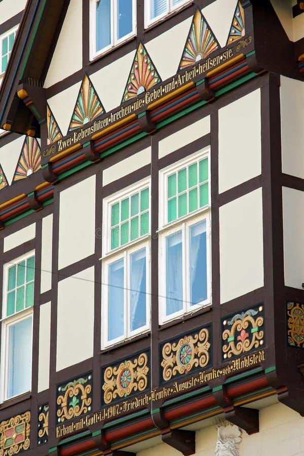 Dettagli di una casa nel centro di Hameln, in Germania fotografia stock