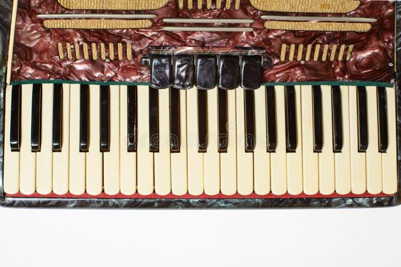 Dettagli di vecchia fisarmonica, vista del primo piano fotografie stock